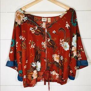 DAYTRIP Floral Zip Front Kimono Top Jacket MEDIUM